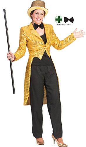 Karneval-Klamotten Frack Pailletten Damen Frack Damen Gold MIT Fliege schwarz Silvester Damen-Kostüm Größe (Pailletten Frack Kostüm)