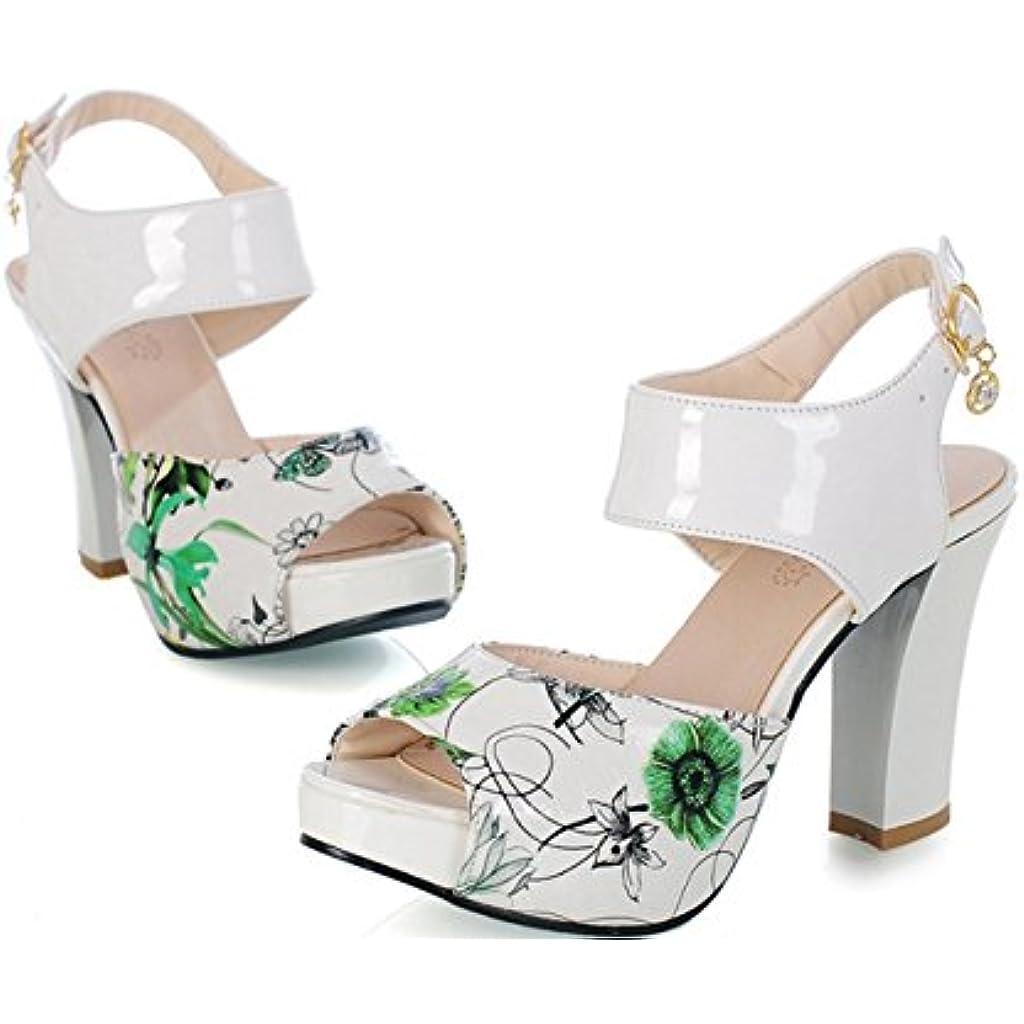 Heel Primavera Peep De Verano Pu Zapatos Sandalias Mujer Chunky Toe Caq0nH 2ea8b1a14c8a
