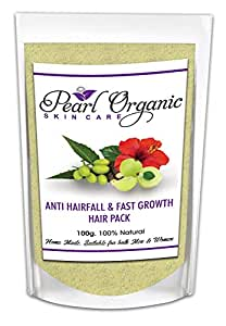 Pearl Organic Skincare Anti Hair Fall and Fast Growth Hair Pack - Natural Treatment Mask For Hair Loss and Dandruff with The Goodness Of Hibiscus Powder And Amla Powder.