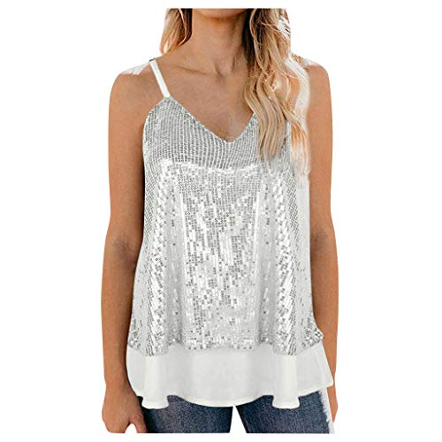 TUDUZBlusa Mujer Sin Mangas Camisa De Tiras con Lentejuelas Camiseta Cuello En V (Blanco, S)