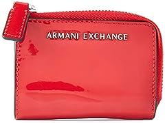 Idea Regalo - ARMANI EXCHANGE Small Round Zip - Portafogli Donna, Rosso (Red), 10x10x10 cm (W x H L)
