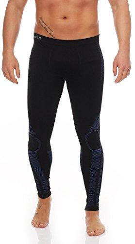 Skiunterwäsche für Herren als Hemd-Hose-Set oder 2 Hemden oder 2 Hosen auswählbar, Langarm, funktionelle Thermowäsche seamless ohne störende Nähte S/M & L/XL 2x Hose schwarz/blau