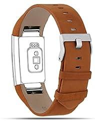 Für Fitbit Charge 2 Armband Leder Erstatzband, Verstellbare Ersatz-Sportbänder Uhrenarmband Lederarmband für Fitbit Charge 2 Fitness Armband