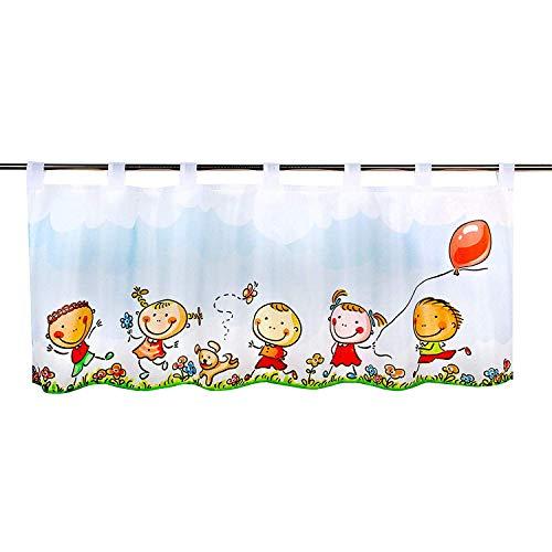 Delindo lifestyle® tenda per finestre bambini felici adatta a stanza dei bambini, bianco 45x120 cm, tenda per finestra cameretta bambini, tendina moderna