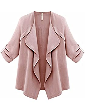 SHOBDW Mujer otoño primavera sólida manga larga suelta más Cardigan chaqueta