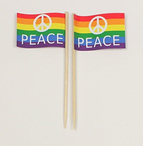 Hippie Zeichen - Party-Picker Flagge PEACE Regenbogen Papierfähnchen in