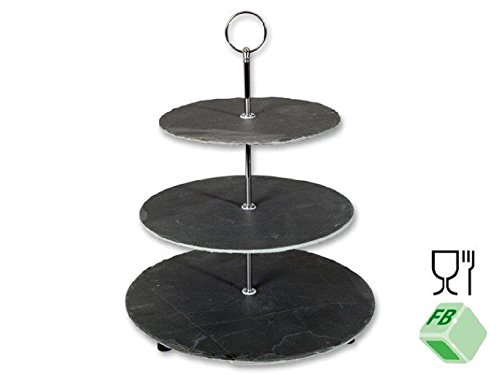 Alzata 3piani, Ardesia con manico in metallo (acciaio inossidabile) di belle Set, 3strati, 30x 30x 35cm, in ardesia e metallo, Buffet decorazione pasticceria piatto per formaggi Muffins Cupcakes