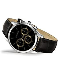 Urban Interia Presents Latest Casual Dashing Stylish Black Round Dial Watch With Black Leather Strap For Men And...