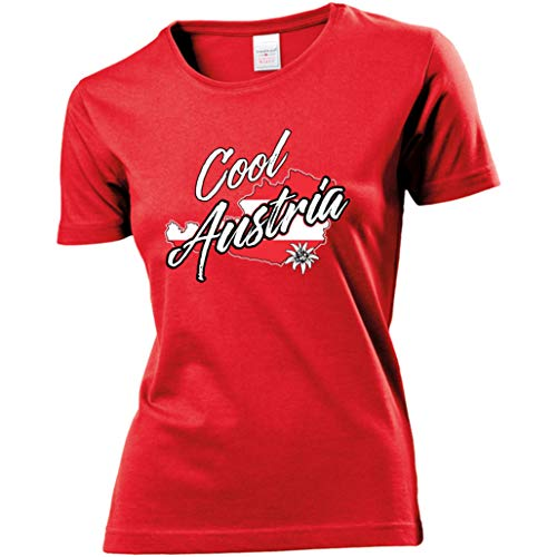 Damen Lady T-Shirt - Österreich - Cool Austria (Rot, L)