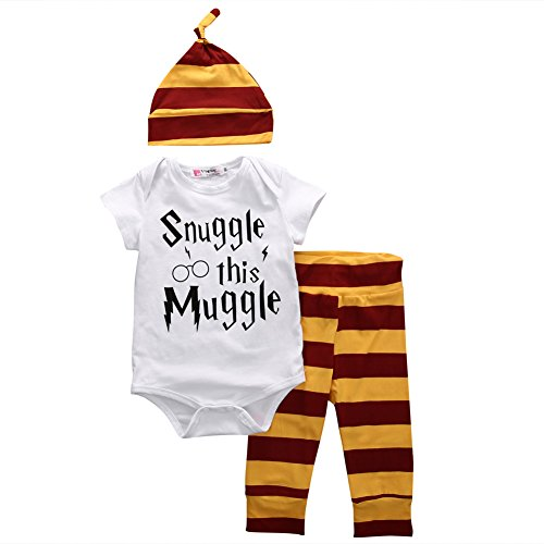Baby Boys Girls Snuggle this Muggle Bodysuit and Striped Pants Outfit with Hat (70 (0-6M), White+Yellow)