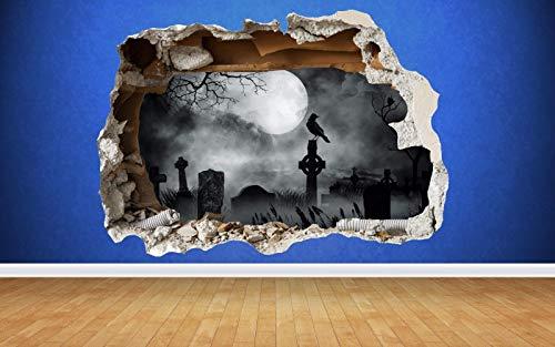 B-Creative Friedhof zertrümmert Wandaufkleber Halloween volle Farbe Art Aufkleber Moon Haunted 81cm x58cm