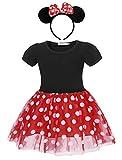 Jurebecia Abiti da Bambina a Pois + Mini Mouse Ears Fascia Tutu Principessa Bowknot Vestito Festa di Compleanno 6-7 Anni