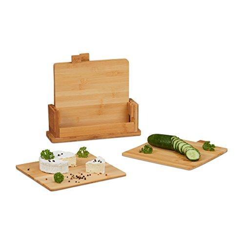 Relaxdays Schneidebrett 4er Set, Küchenbrett, Brettchen, mit Ständer, pflegeleicht, natürlich, messerschonend, natur - Halter Brot Holz