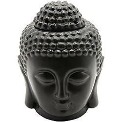 Omonic - Difusor de aceites esenciales con la forma de la cabeza de Buddha, de porcelana, ideal para crear un ambiente zen y de meditación en el jardín, de color blanco