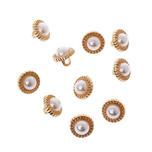 Faux-leder-snap (VIccoo Knöpfe annähen, 10 stück DIY Faux Perle kunststoffschaft knöpfe nähen Hochzeit Handwerk verschönerung 10mm)