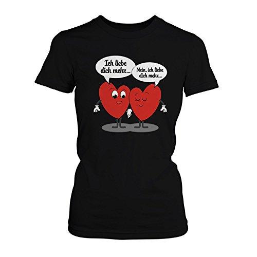 -Shirt - Ich liebe dich mehr | Fun Shirt mit Spruch als Valentinstag & Jahrestag Geschenk Idee für verliebte Paare, Farbe:schwarz;Größe:L (Niedlich Jahrestag Ideen)