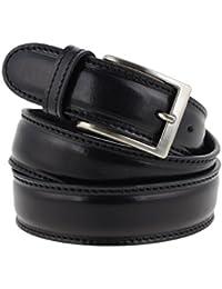 Cintura uomo in pelle nera classica con impuntura artigianale made in Italy 3,5 cm