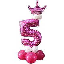 Decoración de la fiesta de cumpleaños del día de los niños Globo lindo de la columna de la corona número 5 color de rosa