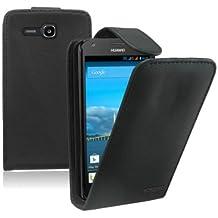 Membrane - Negro Funda Carcasa para Huawei Ascend Y600 (Y600 Dual) - Flip Case Cover
