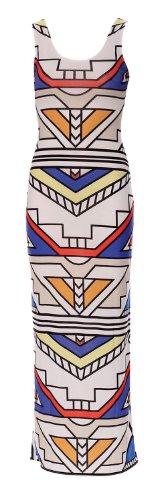 Fast Fashion - Maxi Robe Célébrité Kim Kardashian Stripe Tribale Doux Aztèque - Femmes Mélange Blanc
