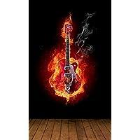 Vlies XXL Poster Fototapete Tapete Flammen Burn brennendes Skelett Schlagzeug