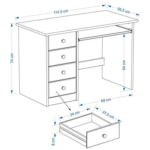 IDIMEX Kinderschreibtisch Schülerschreibtisch MALTE Schreibtisch mit Tastaturauszug und 4 Schubladen, Kiefer massiv weiß/blau lackiert