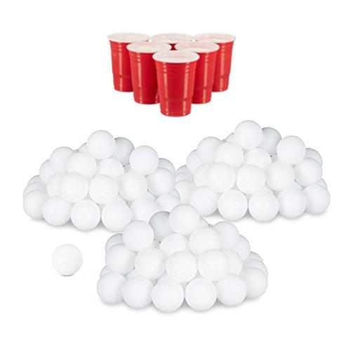 relaxdays 144er Set Beer Pong Bälle, ohne Aufdruck, Kunststoff, ohne Naht, Trinkspiel, Tischtennisbälle, 38 mm, weiß