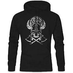 Viking Skull II Hoodie Sudadera con Capucha Sweatshirt - Hugin and Munin Odhins Ravens Boat Dragon Ship Vikingo Drakkar Barco Largo Tamaños S - 2XL