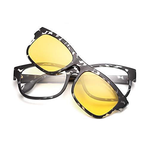 Yiph-Sunglass Sonnenbrillen Mode Unisex Retro Sonnenbrille mit austauschbaren Gläsern für Männer Frauen Farbige Linse Unbreakable TR90 Rahmen Clip-on UV-Schutz Magische Sonnenbrille (Farbe : Gelb)