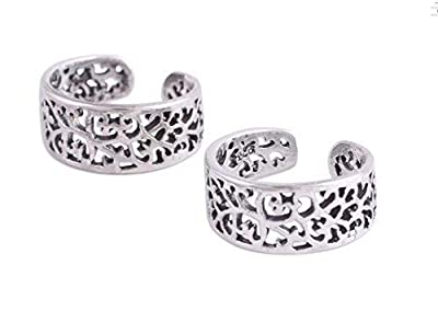 SilverTree925 Stylish Fashionable Floral Toe Rings in Pure Sterling Silver for Girls & Women (ST727)