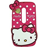 EDGEKART Cute Hello Kitty Soft Silicone With Pendant Back Cover For Motorola Moto G3 - Pink