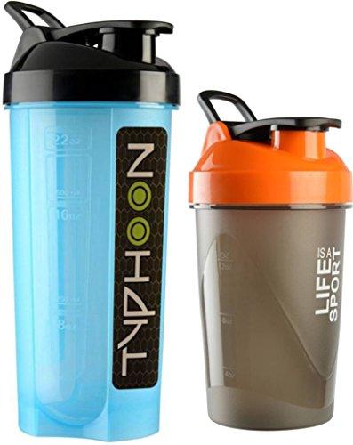 Combo Of 2 (700ml + 500ml) Blue Typhoon + Orange Life Is A Sport Shaker Bottle, Protein Shaker / Sipper / Gym Bottle / Water Bottle / Good Quality Shaker Bottle For Both Men's / Women's / Boy's / Girl's (700 Ml + 500ml) Shaker, Bottle, Sipper Pack Of 2 (7