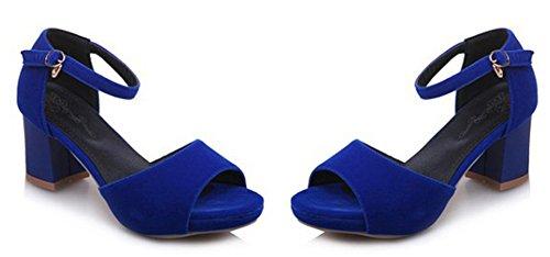 Aisun Femme Sexy Peep Toe Bride Cheville Sandales Bleu