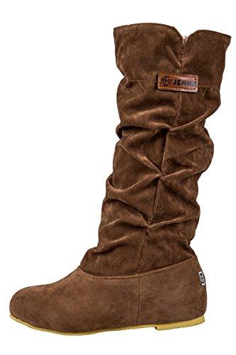 Bottes - SODIAL(R)Nouvelles Bottes chaudes de mi mollet a la mode Casual hautes bottes au genou brun 39