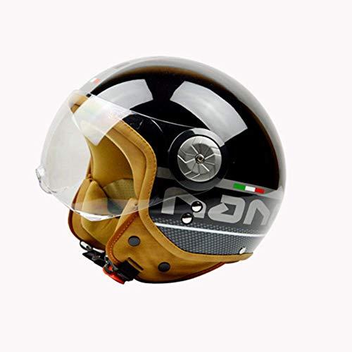 GLEI-TK Halber Helm Open-Face Helme Harley Helm Detachable Sonne Visor-Lens Stärkung der Behandlung, Anti-Kratzer, Blendschutz und UV-Schutz,L