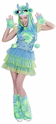 Widmann 01723 - Erwachsenenkostüm Monster Girl - Kleid, Mütze, Handschuhe und Stulpen, Größe L, (Kostüme Monster Damen)