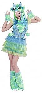 WIDMANN 01701?Disfraz para Adultos Chica Monstruo, Vestido, Gorro, Guantes y Calentadores, Talla S, Multicolor.