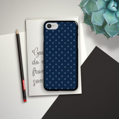 Apple iPhone 6s Hülle Premium Case Cover Anker Blau Maritim Hard Case schwarz