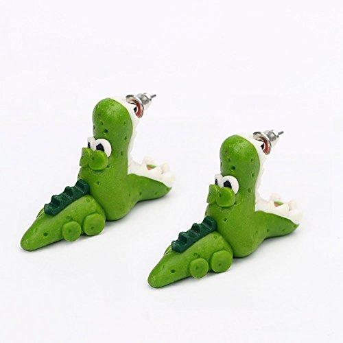 juanya Lovely dinosaurio suave de piel de cocodrilo Pottery arcilla polimérica Ear Stud Pendientes, cocodrilo, Crocodile