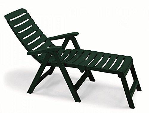 Fauteuil Vert forêt avec rallonge en résine, fauteuils pliables de jardin, fauteuil transformable en lit