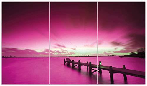 Wallario Herdabdeckplatte/Spritzschutz aus Glas, 3-teilig, 90x52cm, für Ceran- und Induktionsherde, Steg bei Abenddämmerung -Himmel bei Nacht Lila gefärbt