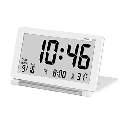Ultradünne Flip Reise Elektronische Tischuhr/Klappbare Stille Mode Portable Thermometer Uhr,White ()