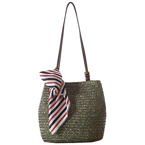 Lawevan? Frauen gewebte Tasche Stroh Schultertasche Mit Schals Dekoration Marine