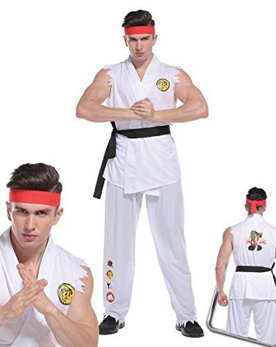Erwachsene Kostüme Karate Für Kid (Erwachsene Herren Straßenkämpfer Kostüm KEN Karate Kid Ryu Kämpfer Kostüm Ninja)