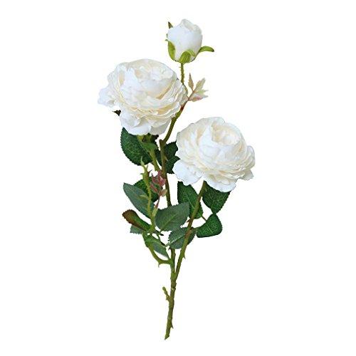 Sunday_Kunstblumen Simulation Flower Künstliche Gefälschte Pfingstrose Blumen Brautstrauß Hochzeit Home Decor Für Hausgarten Party Blume Dekoration (Weiß)