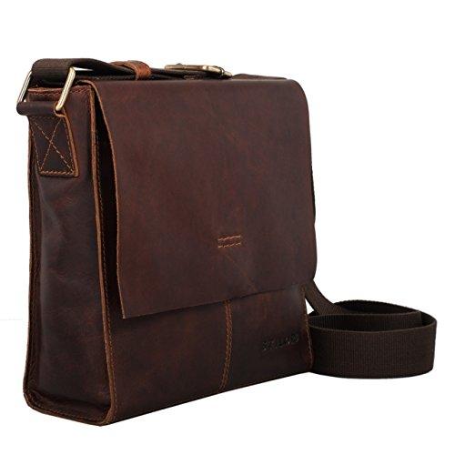 STILORD 'Malte' Kleine Messenger Bag Leder Herren Vintage Schultertasche Umhängetasche für 9.7 Zoll Tablet iPad Handtasche A5 echtes Rindsleder, Farbe:mocca - braun mocca - braun