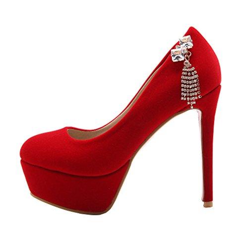 ENMAYER Femmes Suède Pearls Ceinture de Cheville Wedge Talons Sauts Round Toe Suede Platform Pompes Casual Shoes Rouge#23
