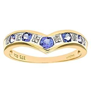 Naava Women's 9 ct Yellow Gold Tanzanite and Diamond Wishbone Ring