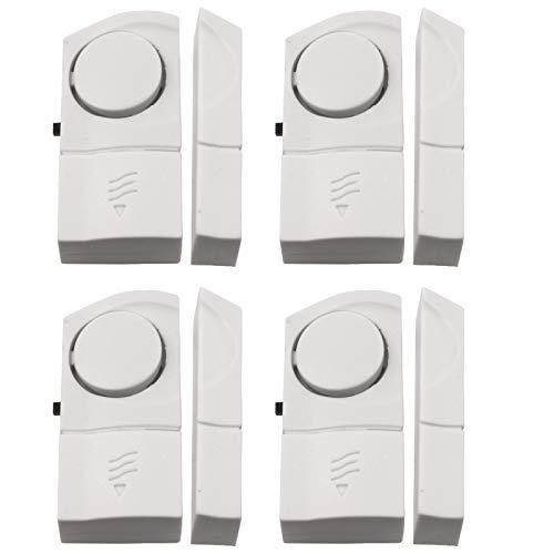 4 Stück Fensteralarm und Türalarm selbstklebend erzeugt ca. 90dB Signalton für Türen oder Fenster akustischer Einbruchschutz Alarmanlage Alarm inkl. Batterie (Tür-alarm-nacht)