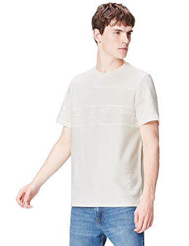 FIND Herren Patchwork T-Shirt, Gr. Large, Elfenbein (Cloud Dancer) (Shirt Elfenbein Herren)